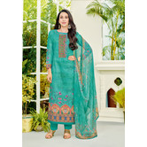 Craftsvilla Turquoise Color Cotton Embroidered Unstitched Straight Suit