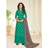 Craftsvilla Cotton Blend Teal Green Embellished Unstitched Straight Palazzo Suit