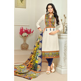Craftsvilla White Color Cotton Printed Unstitched Traditional Straight Suit