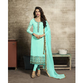 Craftsvilla Turquoise Color Georgette Embroidered Unstitched Straight Churidar Suit