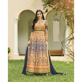 Craftsvilla Multicolor Silk Blend Printed Semi-stitched Circular Anarkali Suit