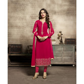 Craftsvilla Red Color Georgette Embroidered Unstitched Straight Churidar Suit