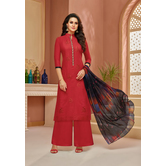 Craftsvilla Red Cotton Resham Embroidery Unstitched Salwar Suit With Palazzo