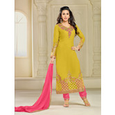Craftsvilla Mustard Color Georgette Embroidered 3/4th Sleeves Unstitched Salwar Suit