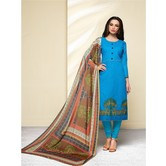 Craftsvilla Sky Blue Color Cotton Blend Embroidered Unstitched Straight Suit