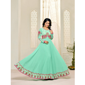 Craftsvilla Sea Green Color Georgette Embroidered Unstitched Anarkali Suit