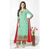 Craftsvilla Turquoise Color Georgette Embroidered Semi-stitched Straight Suit