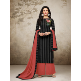 Craftsvilla Black Mashlin Silk Digital Printed Semi-stitched Salwar Suit