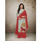 Craftsvilla Grey Mashlin Silk Digital Printed Semi-stitched Salwar Suit