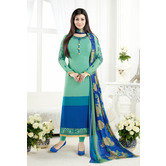 Craftsvilla Turquoise Color Crepe Embroidered Unstitched Straight Suit