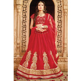 Craftsvilla Red Color Net Lehenga Choli Dupatta Material