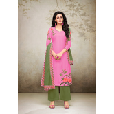 Craftsvilla Pink Mashlin Silk Digital Printed Semi-stitched Salwar Suit