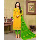 Craftsvilla Yellow And Green Color Jacquard Cotton Embroidered Unstitched Straight Suit