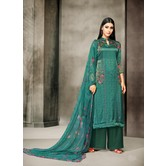 Craftsvilla Teal Satin Cotton Printed Unstitched Salwar Suit