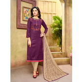Craftsvilla Purple And Beige Color Jacquard Cotton Embroidered Unstitched Straight Suit