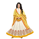 Craftsvilla White Color Cotton Embroidered Circular Unstitched Anarkali Suit