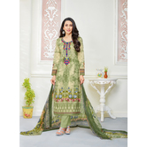 Craftsvilla Green Color Cotton Embroidered Unstitched Straight Suit