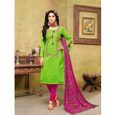 Craftsvilla Green And Pink Color Jacquard Cotton Embroidered Unstitched Straight Suit