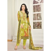 Craftsvilla Green Satin Cotton Resham Embroidered Unstitched Salwar Suit