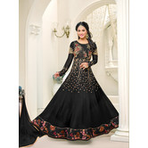 Craftsvilla Black Color Georgette Embroidered Unstitched Anarkali Suit