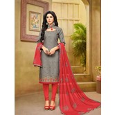 Craftsvilla Grey And Red Color Jacquard Cotton Embroidered Unstitched Straight Suit