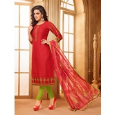 Craftsvilla Red Color Cotton Blend Embroidered Unstitched Salwar Suit