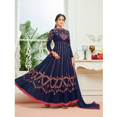 Craftsvilla Blue Color Georgette Embroidered Unstitched Circular Anarkali Suit