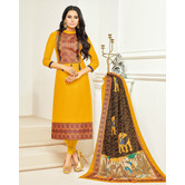 Craftsvilla Mustard Color Cotton Printed Unstitched Traditional Straight Suit