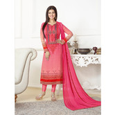 Craftsvilla Pink Color Georgette Embroidered Unstitched Straight Suit