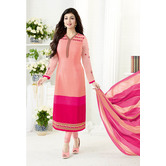 Craftsvilla Peach And Pink Color Crepe Embroidered Unstitched Straight Suit