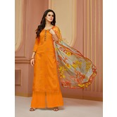 Craftsvilla Orange Cotton Resham Embroidery Unstitched Salwar Suit With Palazzo