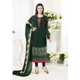 Craftsvilla Green Color Crepe Embroidered Unstitched Straight Suit