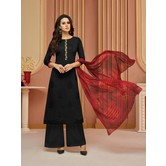 Craftsvilla Black Cotton Resham Embroidery Unstitched Salwar Suit With Palazzo