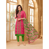 Craftsvilla Pink Color Cotton Blend Embroidered Unstitched Salwar Suit