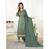 Craftsvilla Teal Blue Color Georgette Embroidered Unstitched Straight Suit