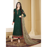 Craftsvilla Green Color Georgette Embroidered Unstitched Straight Suit
