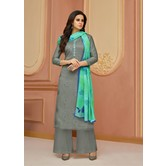 Craftsvilla Grey Cotton Resham Embroidery Unstitched Salwar Suit With Palazzo