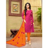 Craftsvilla Pink And Orange Color Jacquard Cotton Embroidered Unstitched Straight Suit