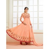 Craftsvilla Orange Color Georgette Embroidered Unstitched Circular Anarkali Suit