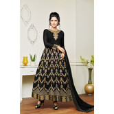Craftsvilla Black Color Georgette Embroidered Unstitched Layered Anarkali Suit