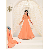 Craftsvilla Peach Color Georgette Embroidered Unstitched Anarkali Suit
