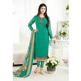 Craftsvilla Teal Blue And Teal Green Color Crepe Embroidered Unstitched Straight Suit