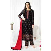 Craftsvilla Black Color Georgette Embroidered Semi-stitched Straight Suit