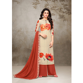 Craftsvilla Multicolor Mashlin Silk Digital Printed Semi-stitched Salwar Suit