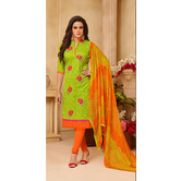 Craftsvilla Green Color Cotton Blend Embroidered Unstitched Salwar Suit