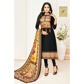 Craftsvilla Black Color Cotton Printed Unstitched Traditional Straight Suit