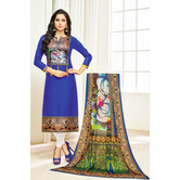 Craftsvilla Blue Color Cotton Printed Unstitched Traditional Straight Suit