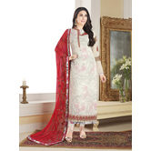 Craftsvilla White Color Georgette Embroidered Unstitched Straight Suit