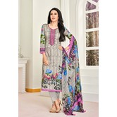 Craftsvilla Grey Satin Cotton Resham Embroidered Unstitched Salwar Suit