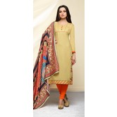 Craftsvilla Mustard Color Cotton Blend Embroidered Unstitched Straight Suit